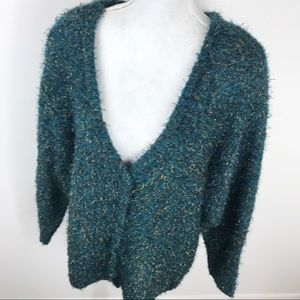 Lane Bryant Teal Gold Mohair Blend Sweater 22/24